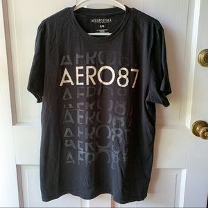 Aeropostale Black White Graphic Aero T-Shirt Men's